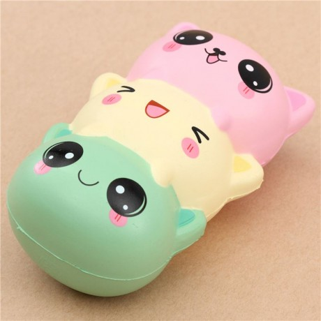 Squishy Ball With Holes : Adorable green light yellow pink cat dango squishy - Cute Squishy Shop