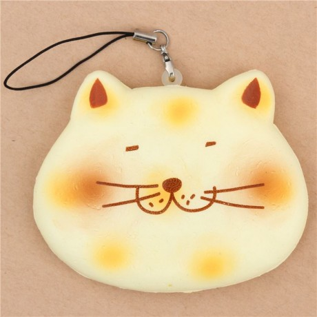 White Squishy Face Cat : Adorable cream fat cat face senbei rice cracker cracking squishy - Cute Squishy Shop