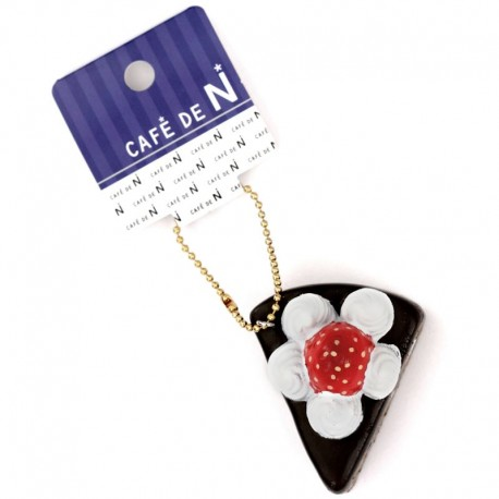 Cafe De N Strawberry Squishy : small piece of chocolate cake white cream strawberry squishy cellphone charm Cafe de N - Cute ...