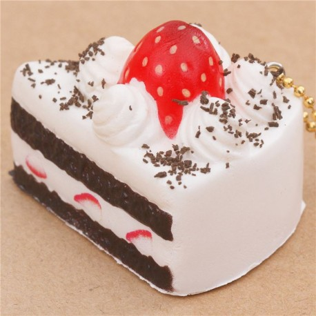 Cafe De N Strawberry Squishy : small white and dark brown cake with strawberry squishy Cafe de N - Cute Squishy Shop