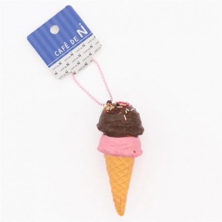 two layer pink brown sprinkles ice cream squishy cellphone charm Cafe de N - Cute Squishy Shop